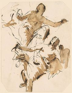 Giovanni Battista Tiepolo - Two Female Figures (Flying Angels ?) - Drawings Online - The Morgan Library & Museum