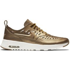 Nike NIKE Air Max Thea Joli ($120) ❤ liked on Polyvore featuring shoes, athletic shoes, sneakers, metallic, cut out shoes, low profile shoes, nike athletic shoes, metallic gold shoes and gold shoes