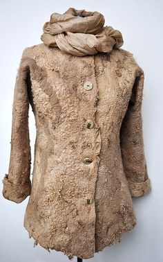Wool felted coat jacket HAZEL Natural fleece by irinaj67 on Etsy, $320.00