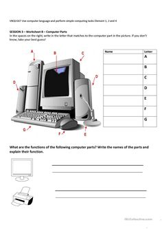 Computer parts and their functions worksheet - Free ESL printable worksheets made by teachers