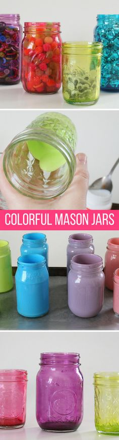 DIY Craft: Bright, Colorful Mason Jars with Mod Podge (tutorial)
