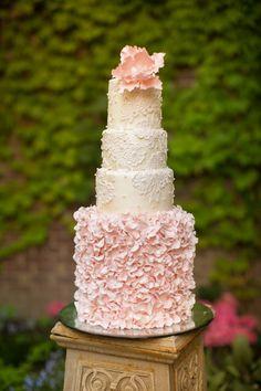 Blush Ruffled Tiered Wedding Cake