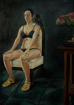 Priscilla de Paula Atenção Plena (2015) óleo sobre madeira 100 x 75 cm Contemporary Paintings, Artwork, Wood, Pintura, Work Of Art, Auguste Rodin Artwork, Artworks, Illustrators, Contemporary Art Paintings