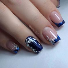 ♥ Fotos ♥ Video ♥ Maniküreunterricht - Proyectos que debo intentar - Дизайн ногтей тут! Elegant Nails, Stylish Nails, Art Deco Nails, Bridal Nail Art, Gel Nail Art Designs, Sassy Nails, Fall Acrylic Nails, Luxury Nails, Blue Nails