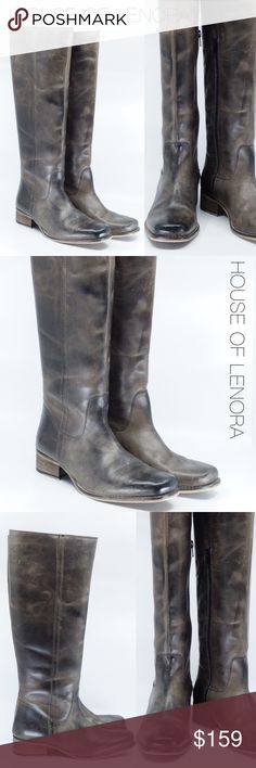 """DIBA TRUE """"Left Field"""" Riding Boot Beautiful riding style boot featuring subtle contrast stitching on the body, a reinforced shaft, a slightly raised forefoot, and a stacked heel for added visual appeal.  HEEL: 1 1/2"""" // SHAFT: 17"""" // CIRCUMFERENCE: 15"""" //  MATERIAL: Leather // COLOR: Dark Grey   CONDITION: Excellent, appears to have been worn once or twice. Diba Shoes Winter & Rain Boots"""