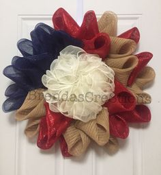 Deco Mesh Flower Wreath  Country American Home by BrendasCre8tions