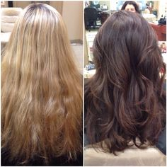 Before and after. Warm blonde to a rich chocolate brown. Long layered cut.