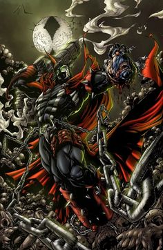 Vengeance is mine - colors by ZethKeeper on DeviantArt Spawn 1, Spawn Comics, Dark Comics, Marvel Comics Superheroes, Anime Comics, Spawn Characters, Comic Book Characters, Comic Character, Comic Books