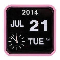 Pastel Pink Retro Square Calender Flip Clock | Wall Clocks | Cult UK