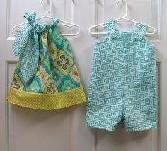 Sister and Brother Set Perfect for Girl Boy Twins Simply Adorable Pillowcase Inspired Dress With Matching Shortall