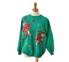 Vintage 80s Holly and Candy Canes Sweatshirt - Women Men XL - Ugly Christmas Sweater by bluebutterflyvintage on Etsy