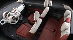 The FIAT® 500c Lounge is available with a Rosso and Avorio (red and ivory) leather-trim interior.