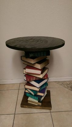 Wood Side Table made with a Spiral of Books, Repurposed Book Table; Readers Digest Condensed Books Wood Side Table made with a Spiral of Books, Repurposed Book Table; Book Furniture, Repurposed Furniture, Furniture Projects, Wood Projects, Diy Furniture Repurpose, Repurposed Wood, Salvaged Wood, Furniture Vintage, Industrial Furniture