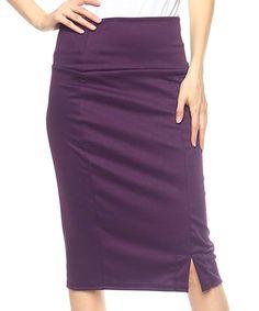 Eggplant Ponte Pencil Skirt - Plus Faux Leather Pencil Skirt, Strap Heels, Eggplant, That Look, Curves, Fancy, Polyvore, Skirts, Clothes