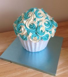 My second giant cupcake...blue and white! Much better than the first!