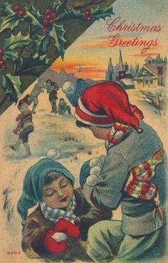 Snowball Fight Christmas Postcard Winter Scene Christmas Card Christmas Angels Here are three more Christmas images for you. Vintage Christmas Images, Antique Christmas, Noel Christmas, Christmas Pictures, Christmas Stuff, Christmas Ideas, Christmas Crafts, Vintage Greeting Cards, Christmas Greeting Cards