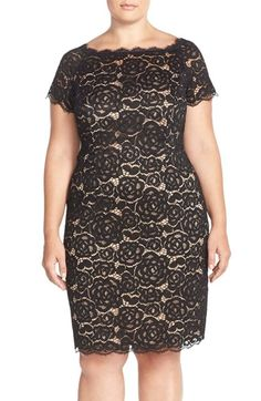 Adrianna Papell Off the Shoulder Lace Sheath Dress (Plus Size) available at #Nordstrom