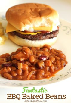 Fantastic BBQ Baked Beans (use 1 large can of Bush's Country Baked Beans + 1 can kidney beans; half the other ingredients)