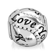 I Love You Bead Charm - Red Heart, Kisses, Hugs & XOXO