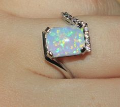 white-fire-opal-Cz-ring-gemstone-silver-jewelry-Sz-7-modern-engagement-design-HA