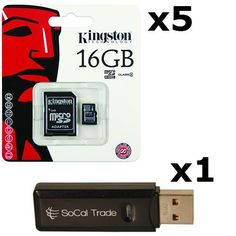 5 PACK  Kingston 16GB MicroSD HC Class 4 TF MicroSDHC TransFlash Memory Card SDC1616GB 16G 16 GB GIGS MA16RTx5550 LOT OF 5 with USB SoCal Trade SCT Dual Slot MicroSD  SD Memory Card Reader  Retail Packaging * Read more at the image link. (It is an affiliate link and I receive commission through sales)