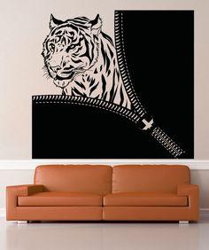Vinyl Wall Decal Sticker Tiger Zipper #OS_AA1364