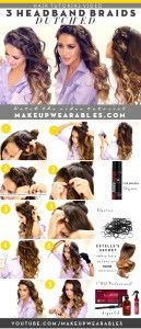 how to 3 quick and easy headband braid hairstyles - everyday hair tutorial