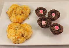 Valentine's shaped chicken biscuits and XOXO brownies