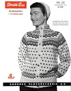 Bilderesultat for norske strikkemønstre Norwegian Knitting, String Bag, Fair Isle Knitting, Knit Picks, Knit Jacket, Vintage Knitting, Knitted Bags, Lana, Knitting Patterns