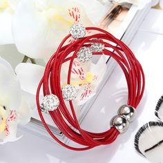 Shamballa Crystal Beaded Red Cow Leather Magnetic Bracelet