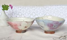 cocoro窯 ピンク&ブルーの大きな花紋ごはん茶碗 l 和食器 益子焼販売 楽raku
