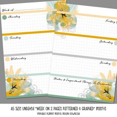A5 Size WO2P Patterned and Graphed Inserts by LittlePinkPlanner