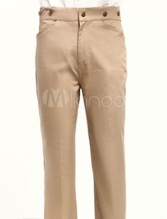 Popular Khaki Cotton Fabrics Mens Victorian Trouser