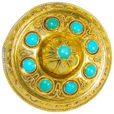 Antique Etruscan Revival Brooch with Turquoise