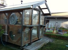 shed with poly carb panels as roof and siding-can double as a greenhouse by adding ventilation. Simple Greenhouse, Homemade Greenhouse, Lean To Greenhouse, Backyard Greenhouse, Greenhouse Plans, Greenhouse Ventilation, Rustic Greenhouses, Lincoln, Greenhouse Interiors