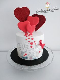 Fondant Cake Designs, Cupcake Cakes, Cupcakes, Red Cake, Valentines Day Cakes, Cake Decorating, Birthday Cake, Sweets, Cooking