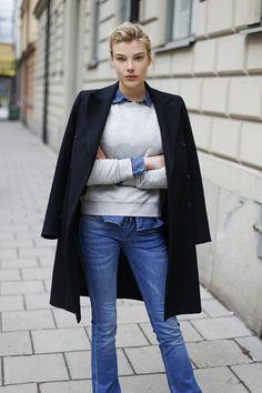 Madelen de la Motte wears a Karl Lagerfeld coat; Crocker sweater, top, and jeans. // #StreetStyle #Fashion #Style #Denim