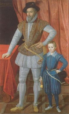 Walter Raleigh with son - Sir Walter Raleigh was an English aristocrat, writer, poet, soldier, courtier, spy, and explorer. He is also well known for popularising tobacco in England.