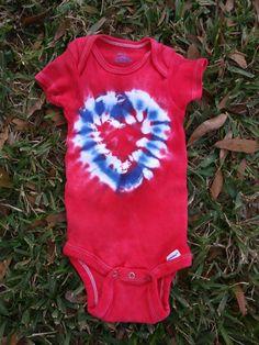 51bffe40 12M Red and Blue Heart Onesie handmade tie dye infant tie Baby Tie, Tie Dye.  Etsy