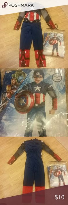 Boy's Captain America Costume Gently pre-owned. Comes with jumpsuit only, not shield or headpiece. The shield was not included in the bag when I purchased but the headpiece was but got misplaced. There are some other poshers that do have that for sale in their closets :)  Bundle discounts offered. Marvel Costumes