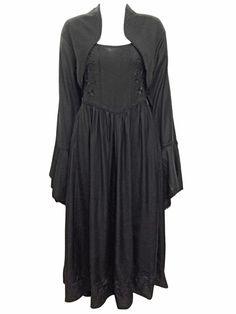 54799dcda10 eaonplus BLACK Gothic Bell Sleeve Open Front Bolero - Plus Size 14 16 to  30 32