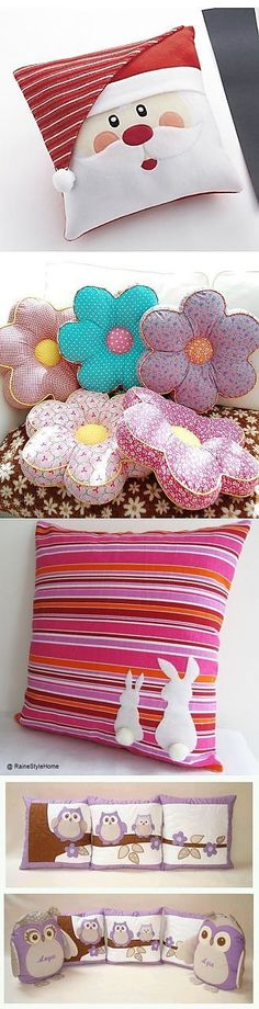 Love the flower pillows! Sewing Pillows, Diy Pillows, Decorative Pillows, Cushions, Sewing Crafts, Sewing Projects, Diy Y Manualidades, Patchwork Cushion, Flower Pillow