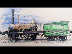 Planet - artist Graham Lewis Train Art, Steam Engine, Train Tracks, Locomotive, Military Vehicles, Old School, Aviation, Watercolors, Classic