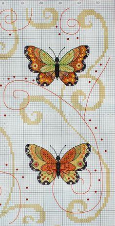 Cross stitch butterflies and chart. Gallery.ru / Фото #14 - бабочки - irisha-ira --- visit site