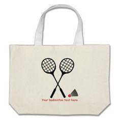 Badminton gifts, racquet and shuttlecock custom canvas bag. #badminton, #red, #racquet, #shuttlecock, #bag