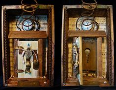 """After The Wandering Home (two views shown here w/door closed & open) 2014 mixed media assemblage by Dianne Hoffman 12"""" tall x 7.5"""" wide x 4"""" deep. Additional views can be seen in the Flickr set here: https://www.flickr.com/photos/collagelodge/sets/72157644532122450/"""