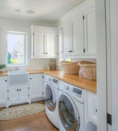 Laundry Room With Butcher Block Countertops