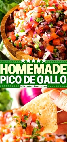 Why buy a premade mix at the grocery store when you can try this simple recipe for Homemade Pico de Gallo instead? 6 ingredients are all you need for this Mexican game day food. Serve it with chips as a quick and easy appetizer! Save this Super Bowl menu idea! Quick And Easy Appetizers, Yummy Appetizers, Appetizers For Party, Appetizer Recipes, Dinner Recipes, Dinner Ideas, Cooks Country Recipes, Southern Recipes, Mexican Food Recipes