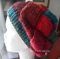 Bonnet-Berêt tricoté à la main en pure laine japonaise et point d'enrelacs : Chapeau, bonnet par misty-tuss-tricote