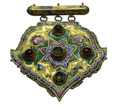 I love this piece of jewellery, which I have posted before. Does anyone have details about it? For all I really KNOW is that it is from Persia (now Iran), Qajar era (19th c), and held by the Azerbaijan Museum in Tabriz (Iran). But I haven't found a detailed description anywhere, so far. (Joost Daalder)
